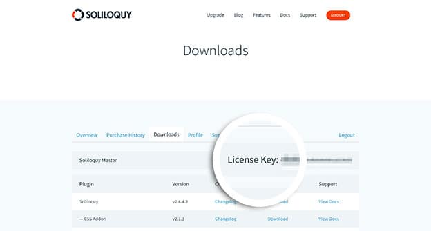 Copy your license key from the Downloads or Overview tabs.