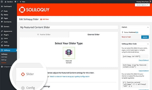 You can configure your featured content options within the Slider tab.