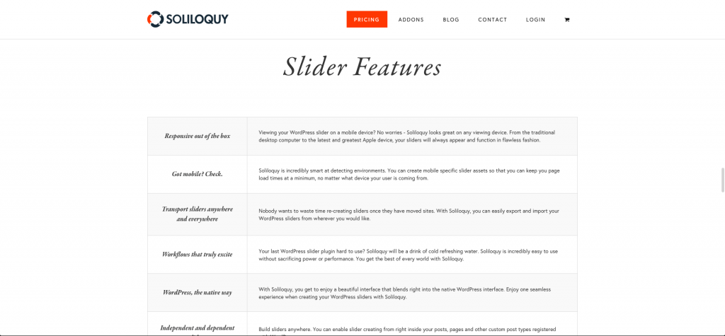 Photo: Soliloquy - Feature List