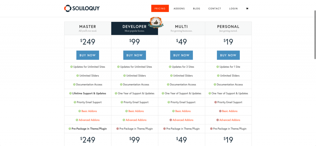 Soliloquy New Pricing Table