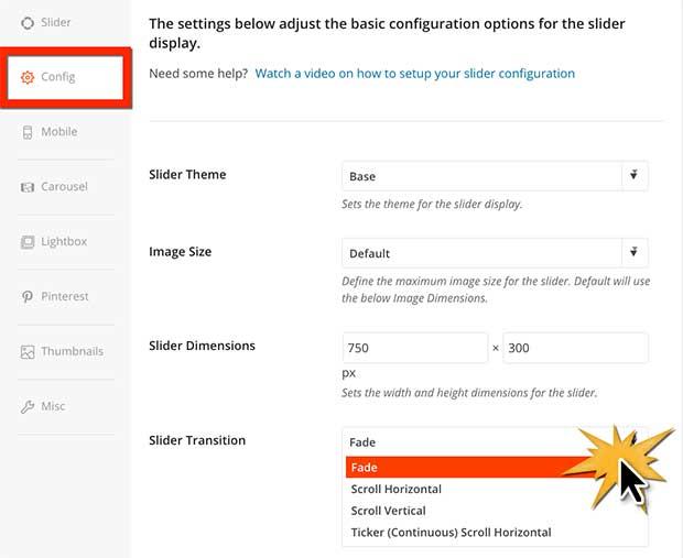 Configure WordPress slider transition effects
