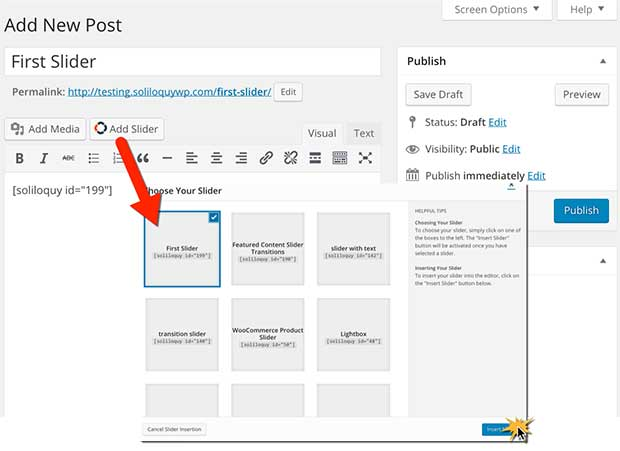 How to insert a WordPress slider into a post