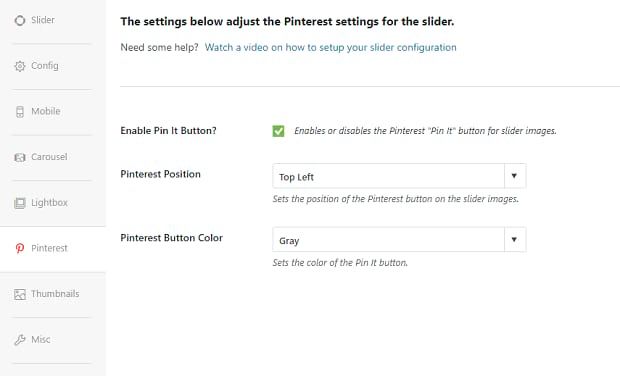 Pinterest addon settings in Soliloquy