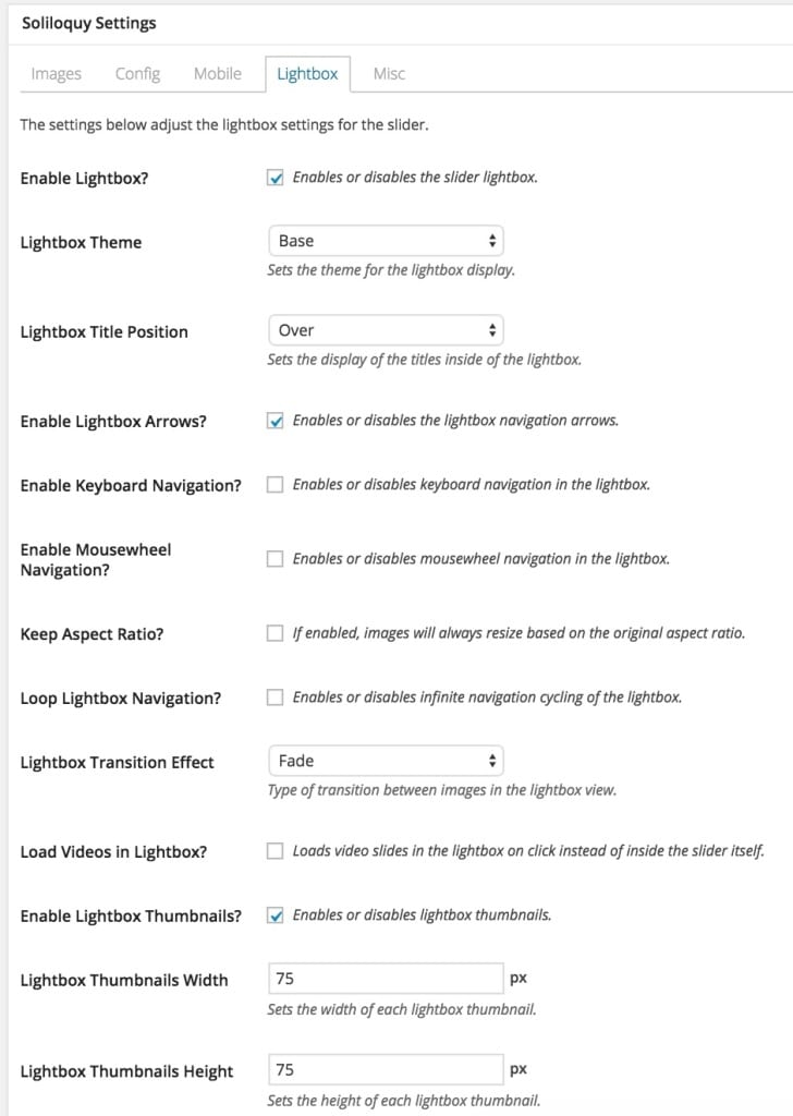 For our demo of customizing the Soliloquy lightbox there are a few essential settings we want to enable.