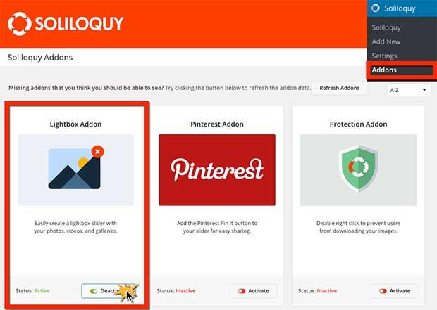 Activate Lightbox Addon to create WordPress Slider With Lightbox Popup