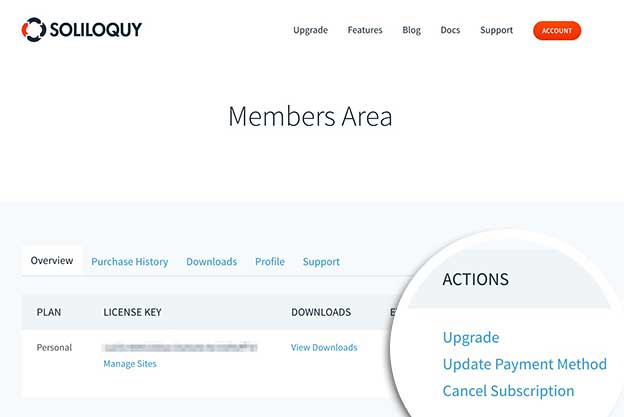 Member's Area dashboard Cancel Subscription link.