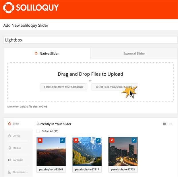 create a lightbox slider in WordPress