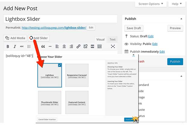 Insert a Lightbox Slider into a WordPress Page