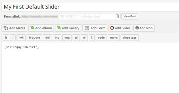 Add Slider Shortcode in Post