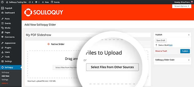 Choose the 'Select Files From Other Sources' button to add PDF files to your slider.