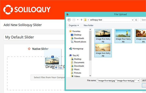 Uploading images to a slider