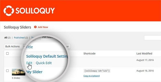 How to edit the Defaults slider