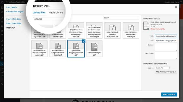 You can either upload PDF files, or choose from existing PDF files already uploaded to the Media Library to convert to slides in Soliloquy.