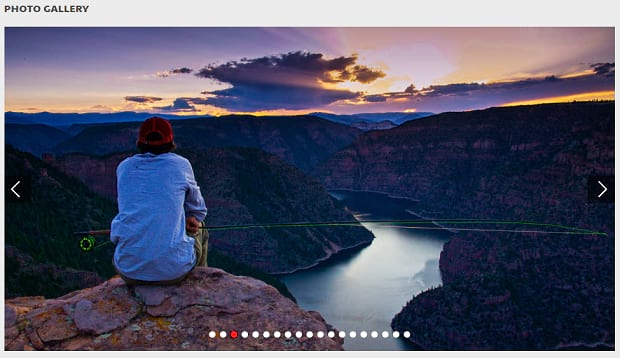 The photo gallery, showing a sunset over Flaming Gorge