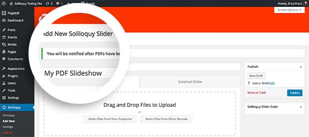 Once you insert the PDF Files into your slider, Soliloquy will display a message indicating the slides are being converted.