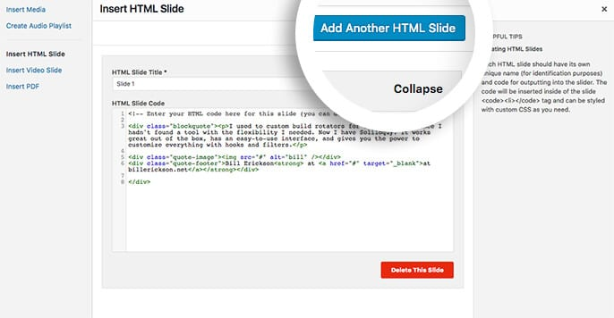 add another html slide to your slider