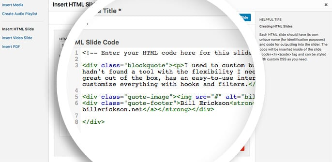 add html to the slide