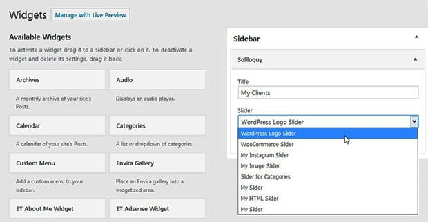Add Slider in Widget