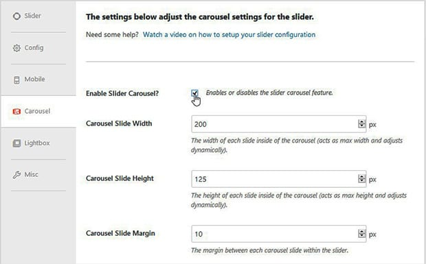 Enable Slider Carousel