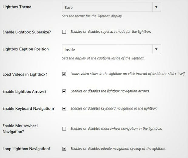 Lightbox Settings