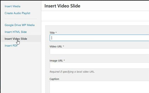 Insert Video Slider button