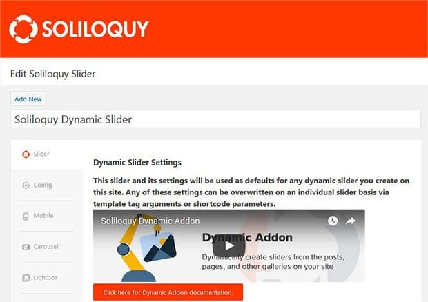 Edit Dynamic Slider