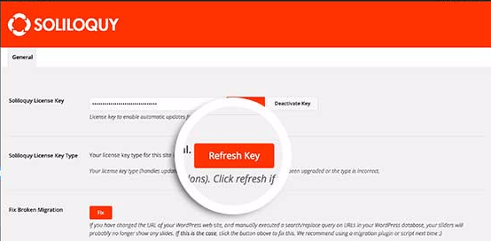 Select the Refresh Key button in the Soliloquy Settings screen once you've upgraded your license.