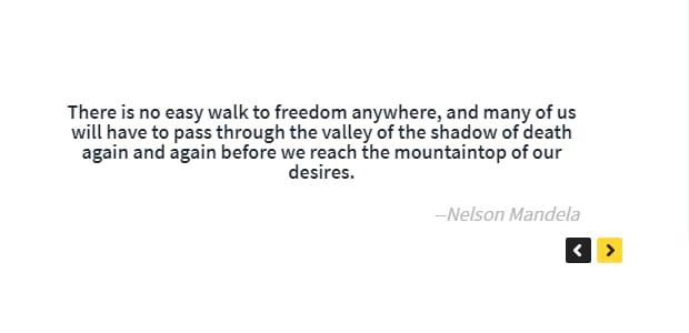 text carousel example, Nelson Mandela quote
