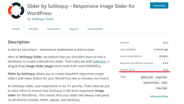 Soliloquy Slider WordPress page, with a description and basic info
