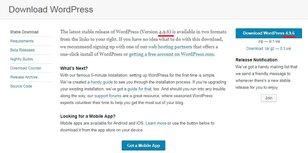 Download page for the latest version of WordPress
