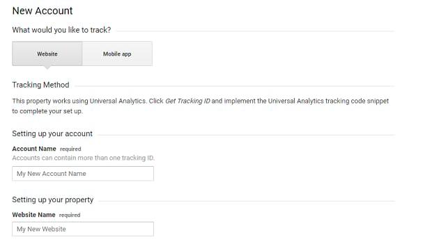 Google Analytics account creation screen