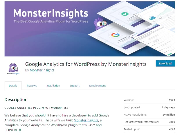MonsterInsights banner, showing their cartoon monster icon inspecting several Google Analytics pages