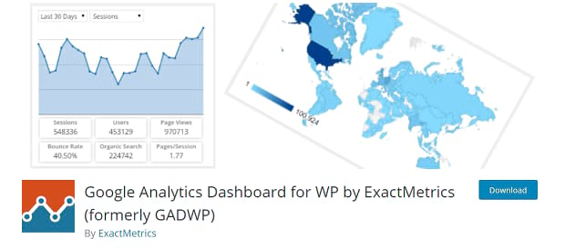 Google Analytics Dashboard banner, showing the Google Analytics view map
