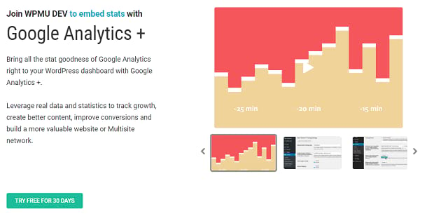 Google Analytics+ banner, showing a stylized traffic graph
