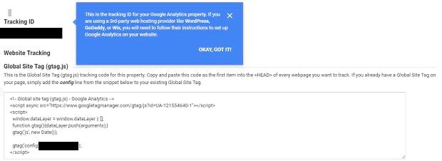 Google Analytics Tracking ID HTML
