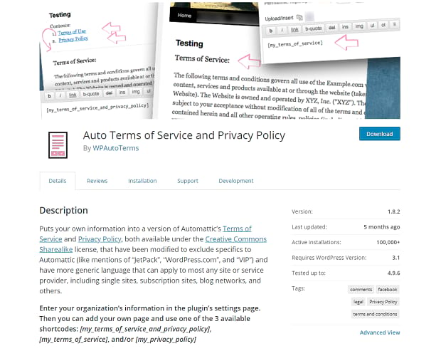 Auto Terms of Service and Privacy Policy plugin page, with an image of example policy pages.