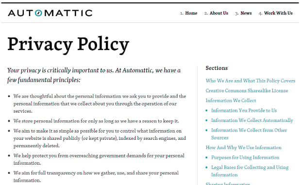 Example of an Automattic generated privacy policy.