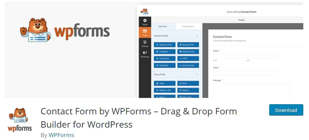 WPForms header, showing an example of the plugin's drag-and-drop form builder