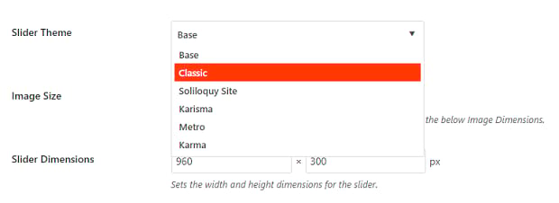 The dropdown box of slider theme options
