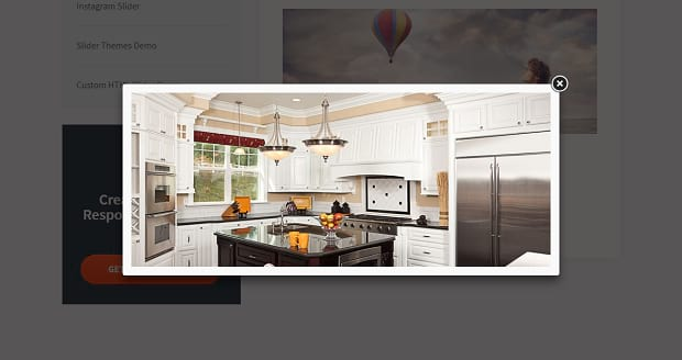 An example of the Soliloquy lightbox plugin, with an image of a nice kitchen in the lightbox