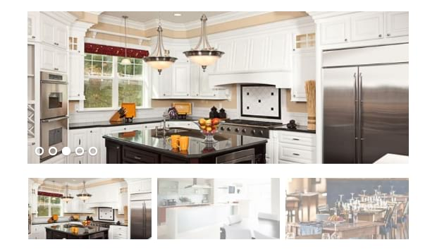 An example on the Soliloquy thumbnails addon, showing thumbnails of various kitchen and dinning areas