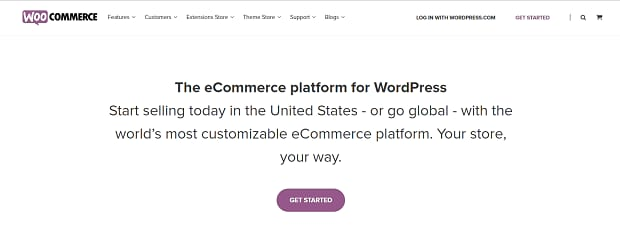 The simple, minimal WooCommerce Homepage, with a small blurb about the plugin