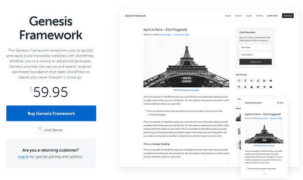 Genesis Framework store page, with a picture of the Eiffel Tower
