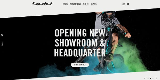 Bold Cycles Ltd. large homepage slider with almost full-screen image sizes