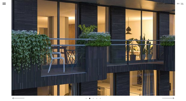 De Hooch's large image slider that shows you images of their apartments using simple and elegantly presented bullet and arrow navigation