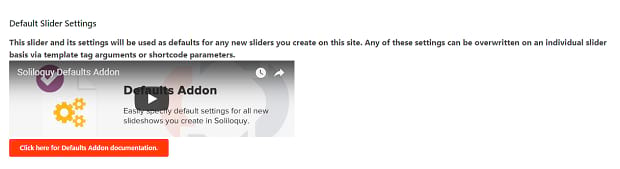 The Default Slider Settings add-on for Soliloquy