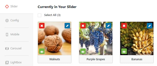 The slider tab of Soliloquy, where you can see and edit the individual images in your slider
