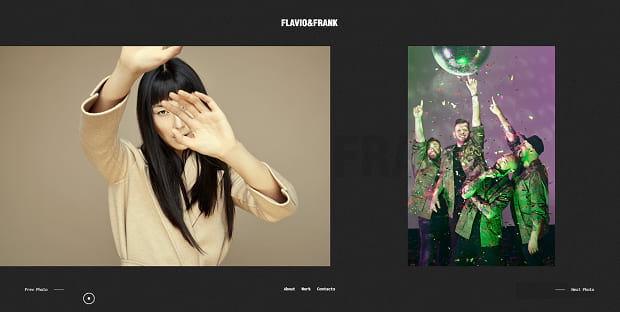 Flavio&Frank's homepage slider portfolio. It has a bold design with lots of navigation options