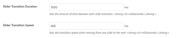 The boxes for setting your Soliloquy slider's transition duration and speed