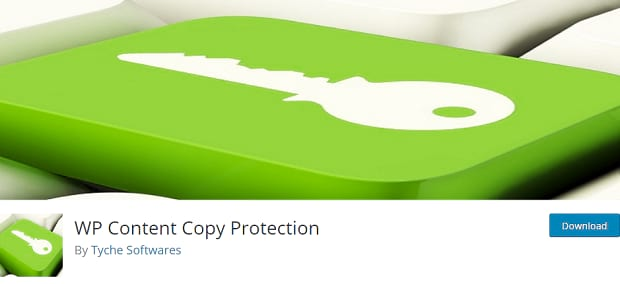 WP Content Copy Protection plugin page, with a green keyboard key with an icon of a key on it